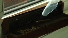 Incense burning on windowsill at night. Dancing smoke. HD 1080p 24fps. Stock Footage