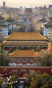 jinshang park looking north at drum tower beijing china  vertica - stock photo