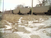 Train and Burned Out Building Stock Footage