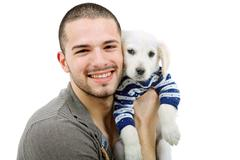man with a dog - stock photo