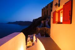 santorini sunset - stock photo