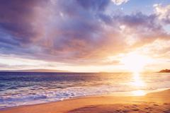 hawaiian sunset at the beach - stock photo