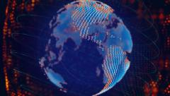 Disperse blue orange globe spinning loop Stock Footage