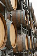 Wine barrel of a winery outside storage area Stock Photos