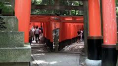 Fushimi Inari Shrine Torii Gate walkway (tilt) Stock Footage
