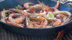 Stock Video Footage of Shrimp cooked on the barbecue