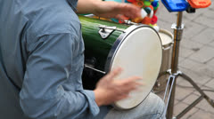 Musician playing the drum with hands Stock Footage