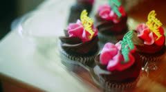 Happy birthday cupcakes cup cakes Stock Footage