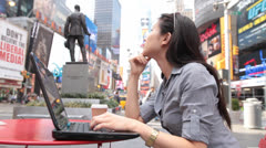 Woman Using Laptop in Timesquare - Fish Eye view Stock Footage