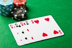 three of a kind in poker - stock photo