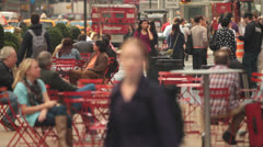 Woman Talking on Cell Phone - Walking through Timesquare Stock Footage