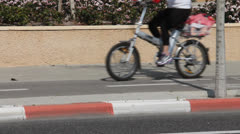Bicycle path  way in the city Stock Footage