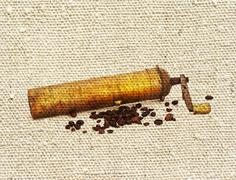 Coffee mill and beans Stock Illustration