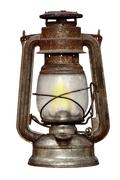 time-worn kerosene lamp - stock photo