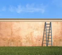 Ladder against a grunge wall in a garden Stock Illustration