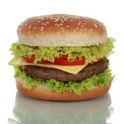 cheeseburger, isolated on a white background - stock photo