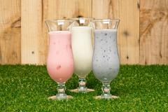 three kind of a milk shake - stock photo