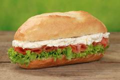 Sub sandwich with smoked salmon Stock Photos