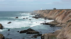 Point Arena California lighthouse Pacific coast HD 5781 Stock Footage