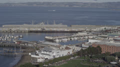 San Francisco Fishermans Wharf Alcatraz Boats Coast Ocean in 5K Red Epic - stock footage