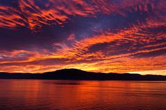 amazing fiery burning evening sky - stock photo