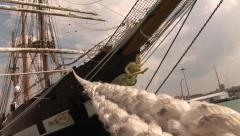 Bow of a sailing ship Stock Footage