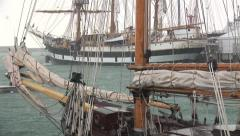 Sailing ships in a hail storm Stock Footage