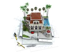 Stock Illustration of House design progress, architecture drawing and visualization