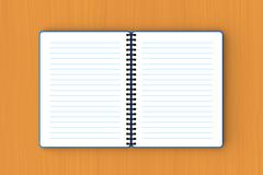 Blue paper notebook spread out on plywood Stock Illustration