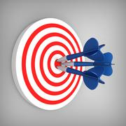 Darts hit accurate on the target Stock Illustration