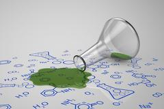 Green liquid spilled from test tube - stock illustration