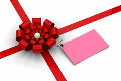 Red bow with blank pink tag - stock illustration