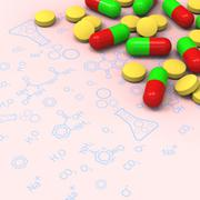 Pills and capsules on chemical diagram Stock Illustration