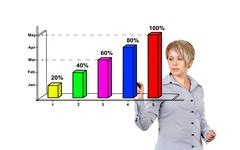Woman drawing graph Stock Photos