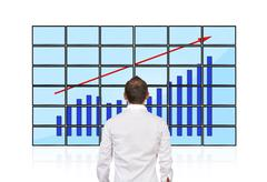 flat panels with chart - stock photo