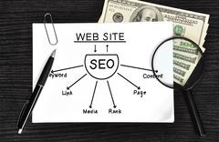 drawing seo scheme - stock photo