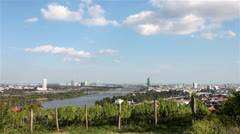 Time lapse Skyline danube valley vienna. Stock Footage