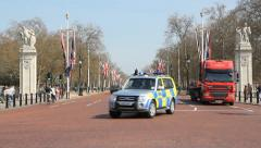 London police car on The Mall. London, UK. Stock Footage