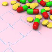 Pills and capsules on abnormal ECG report Stock Illustration