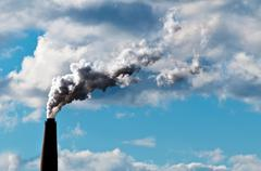 chimney exhaust waste amount of co2 into the atmosphere - stock photo