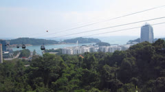 Cable cars entering Mount Faber Station, Singapore - stock footage