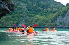 Traveler kayaking Stock Photos