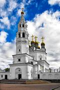 holy trinity cathedral with a bell tower - stock photo