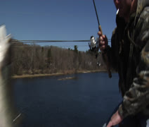 Fish Catch off the bridge Stock Footage