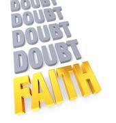 Stock Illustration of faith overcomes doubt