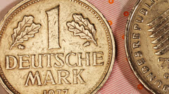 Money Euro bank notes with Deutsche Mark coins Stock Footage