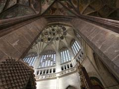 pointed vault of saint barbara church - stock photo