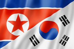 north korea and south korea flag - stock illustration