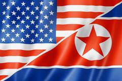 usa and north korea flag - stock illustration