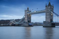 tower bridge in london during blue hour - stock photo
